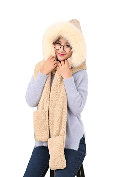 8e8e65ee3c9 Image Unavailable. Image not available for. Color  Winter Warm Women Siamese  Hoodie Gloves Pocket Earflap Hat Long Scarf ...