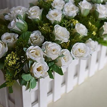 Hctina Kunstliche Fake Blume Rose Zaun Kunststoff Blumen Balkon