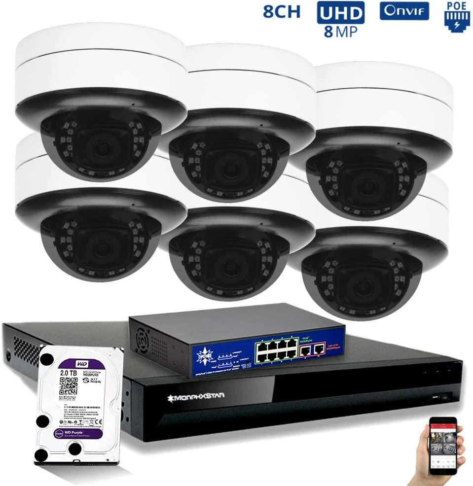 MorphXStar 8CH 4K NVR Network IP Security Camera System - 6 x HD 2160P 6MP 2.8~8mm Motorized Lens 80ft IR PoE IP Dome Camera + 2TB Hard Drive + 8 Ports PoE Switch