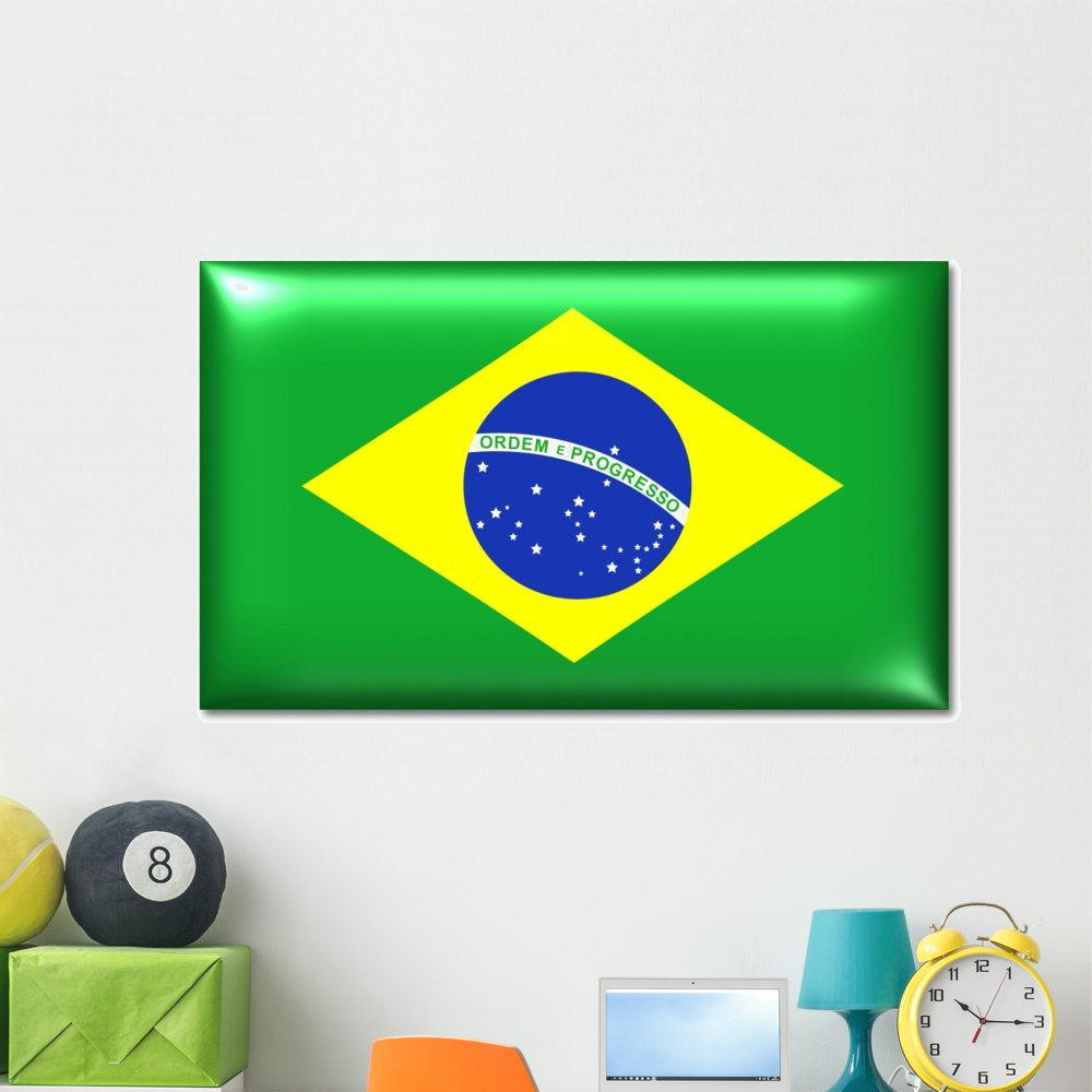 Amazon com wallmonkeys brasilien fahne brazil flag wall decal peel and stick graphic 60 in w x 37 in h wm68386 kitchen dining