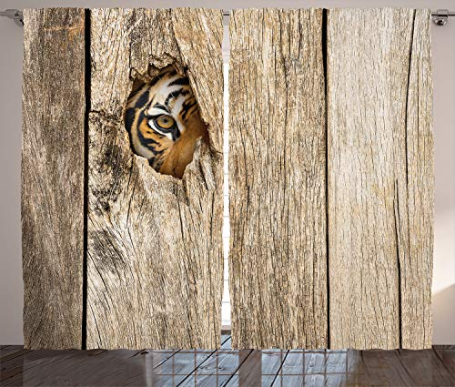 (Ambesonne Safari Curtains, Siberian Tiger Eye Looking Through Wooden Peep Hole in Spy Predator Big Cat Wild Print, Living Room Bedroom Window Drapes 2 Panel Set, 108 W X 84 L Inches, Brown Cream)