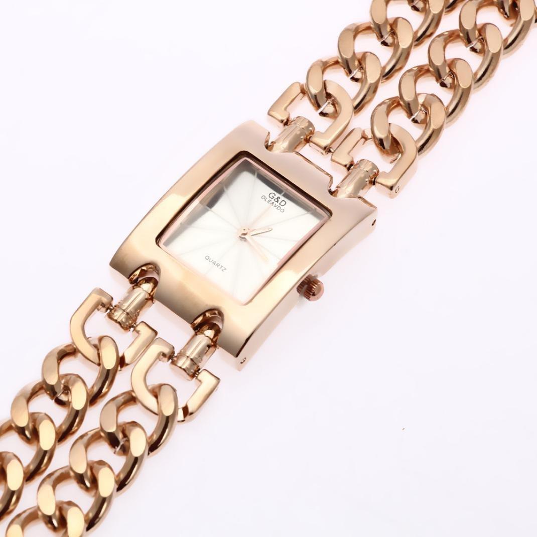 Amazon.com: Hunputa Fashion Women Stainless Steel Wristwatches Quartz Watch Luxury Gold Watch Dress Relojes Ladies Gifts (B): Arts, Crafts & Sewing