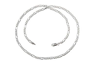 Figarokette Silberkette 4mm Echt 925 Sterlingsilber Halskette 60cm Silber Kette