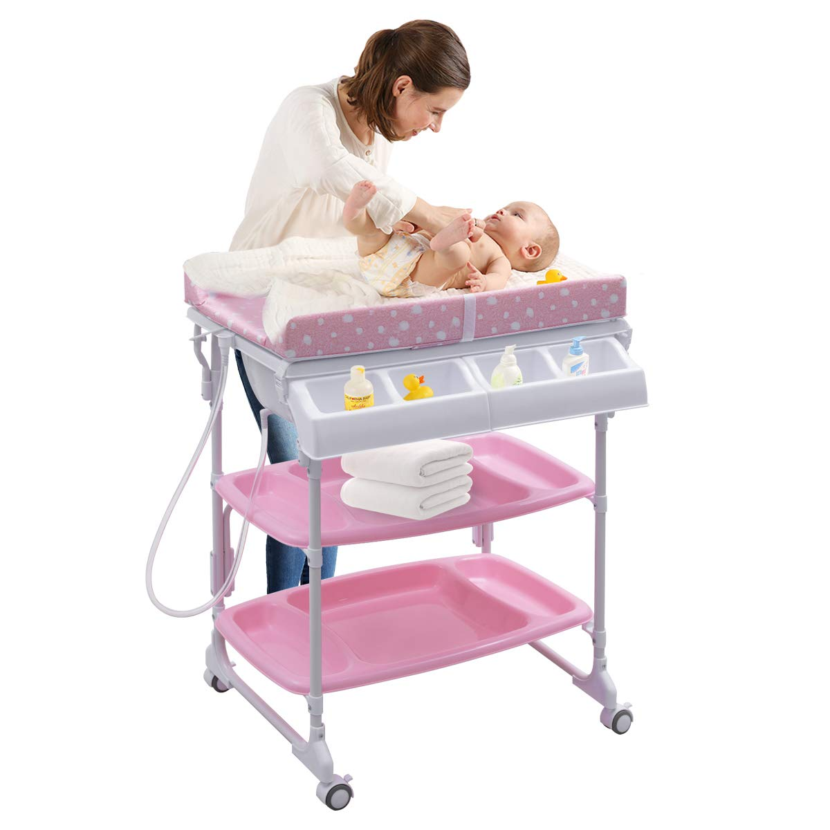 Costzon Baby Bath and Changing Center, Infant Changing Table, Diaper Organizer with Tube & Cushion (Pink)