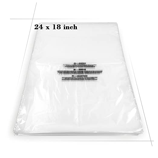 "Becko Self Seal Clear Flat Poly Bags with Suffocation Warning for Storing Clothing/Towel/Blanket/Doll (18""x24"") - 100pcs"