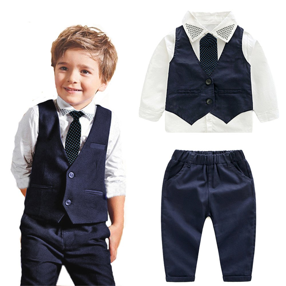 Moyikiss Studio 4Pcs Toddler Baby Boys Gentleman Long Sleeve Shirt+Vest+Pants+Bow Tie Clothing Outfits Set (4T)