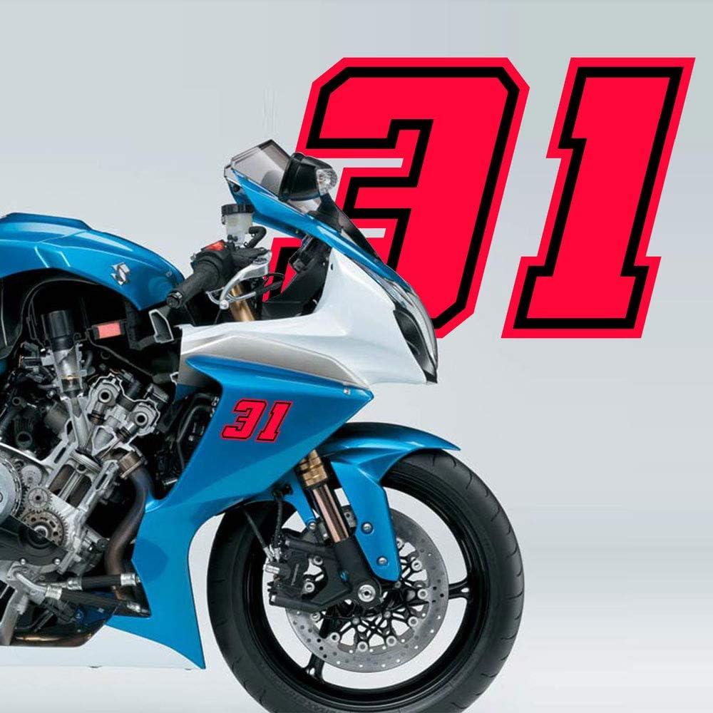10 x 10 cm Neon Red 4R Quattroerre.it 13398 Racing Number 8 Moto GP