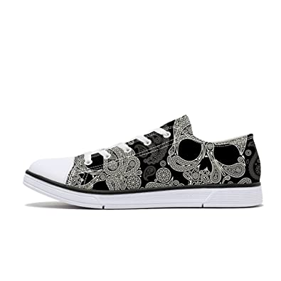 8869753f7d30 FIRST DANCE Women Men Skull Printed Shoes Paisley Printed Casual Sneakers  Girls Student Canvas Shoes