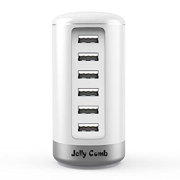 Jelly Comb Cargador USB de 6 Puertos con tecnología de Si (Smart Identificación) para iPhone, iPad, Samsung Galaxy, Nexus, HTC, Motorola, LG y Otros ...