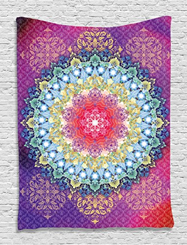 Magical Circle Dream World Four Elements Symbols Peace Zen Yoga Mandala Mystical Flames Color Festival Art Hanging Wall Tapestry Living Room Bedroom, Blue Fuchsia Purple Red Gold