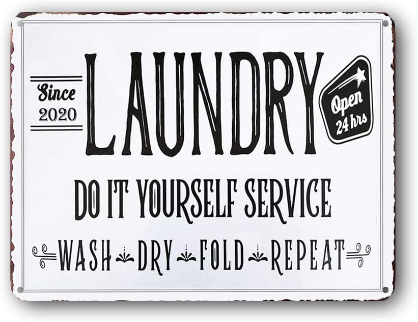 Goutoports Laundry Room Vintage Metal Sign Do It Yourself Service Decorative Signs Wash Room Home Decor Art Signs 7.9x11.8 Inch