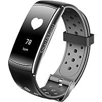 Supersun Presión Arterial Pulsera Pulsera Inteligente Dynamic Heart Rate Monitor IP68Fitness Tracker con tomar fotos, Smart banda con encontrar teléfono para ios android (Gris)