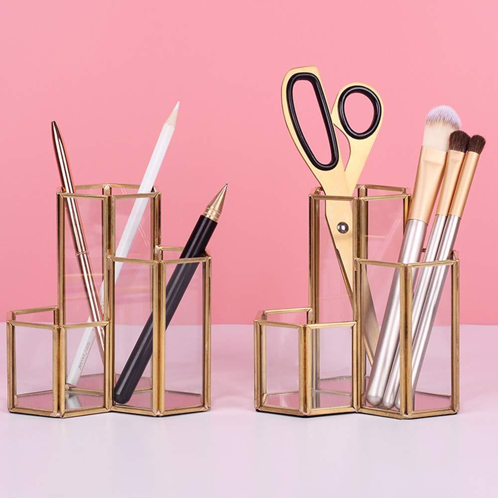 Cratone Portal/ápices de Metal Multifunci/ón Organizadores Escritorio Hexagonal Organizadores para Maquillaje Jarr/ón Papeler/ía