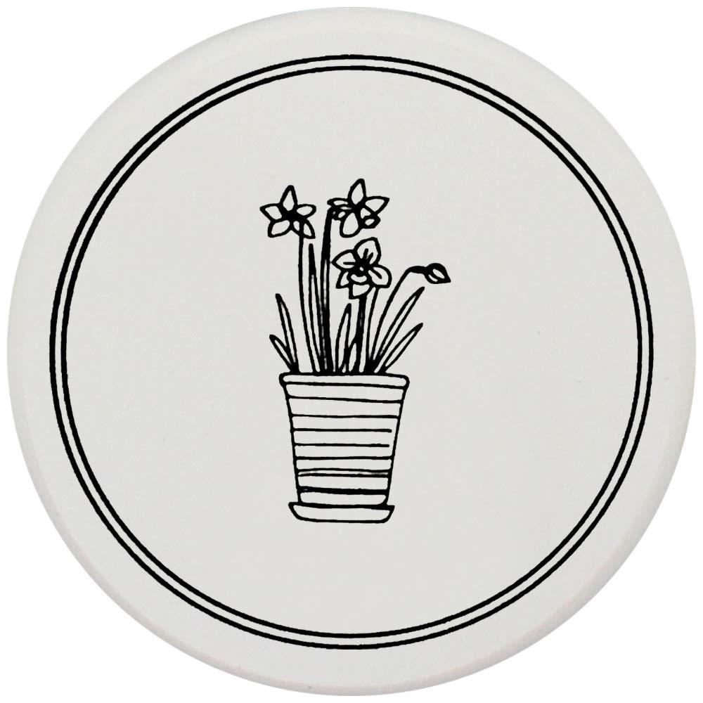 EKOU PLUS Cactus Printing Diatomite Earth Coaster Bar Holder Cup Coaster Mat Absorbent Round Dish Drink Tea Mat Set of 2pcs 3.94x0.35 Color Cactus Design