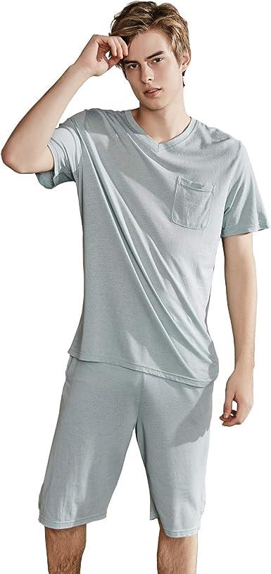 Rojeam Conjunto de Pijama de Lino de 2 Piezas para Hombre ...
