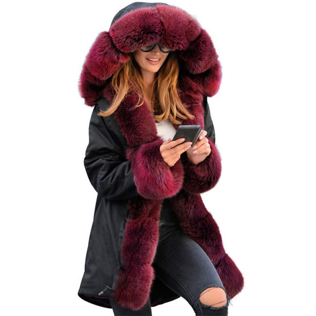 Blackwine VVTS Womens Hooded Faux Fur Lined Warm Coats Parkas Anoraks Outwear Winter Long Jackets
