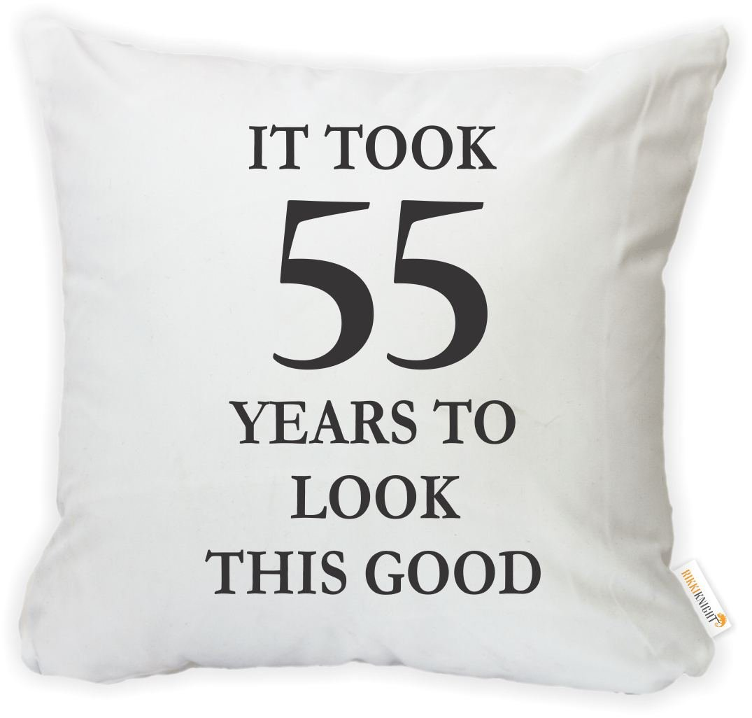 -Printed in The USA Rikki Knight 16 x 16 inch Took 55 Years to Look This Good Birthday Microfiber Throw Pillow Cushion Square with Hidden Zipper Insert Included