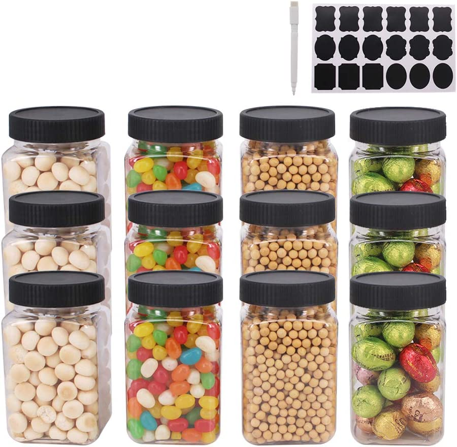 12 Pack 12OZ(350ml) Clear Empty Plastic Jars with Lids & Labels, 1 Pen - BPA Free Food Storage Containers For Dry Food, Peanut, Powder, Spice, Kitchen & Craft Storage Plastic Slime Jar by ZMYBCPACK