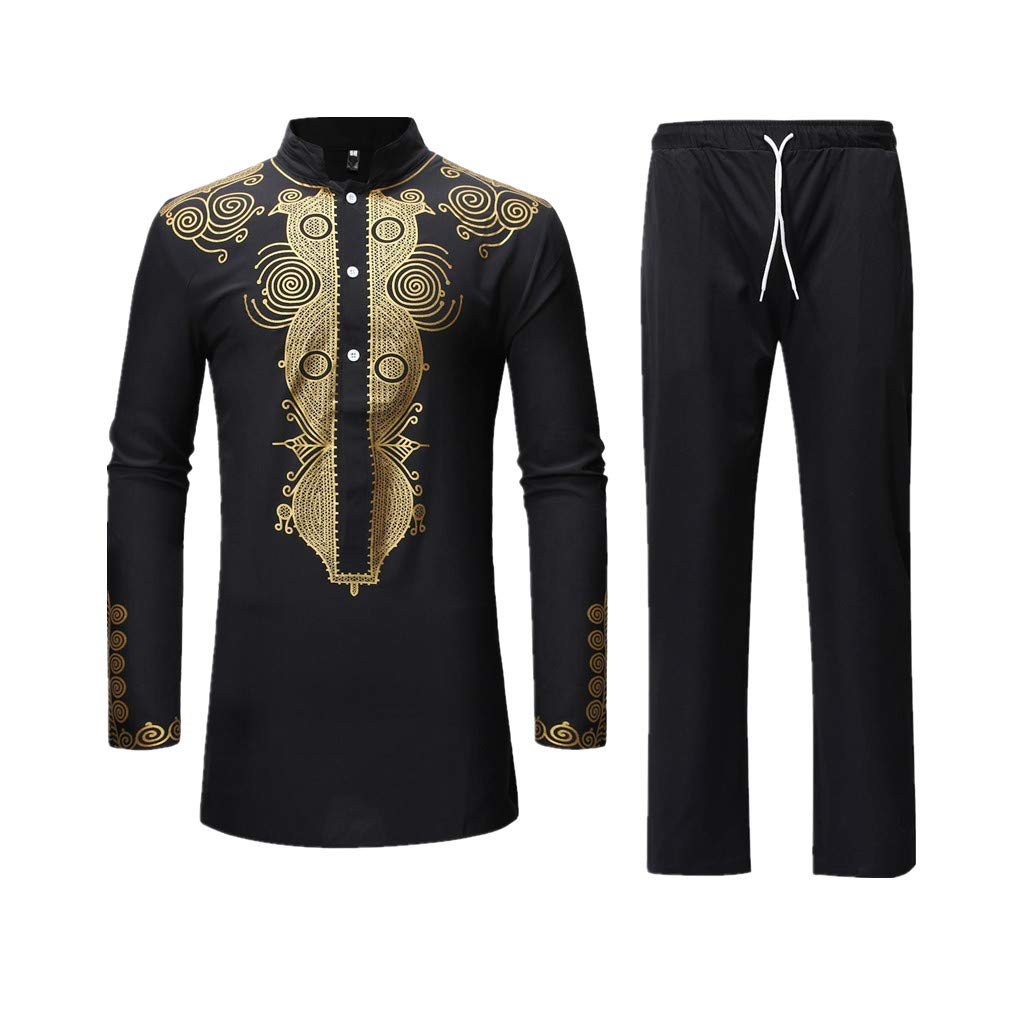 Men's Casual African Dashiki Print Two Piece Outfit Long Sleeve Slim Fit Hipster Shirt Pants Set (A-Black, M)