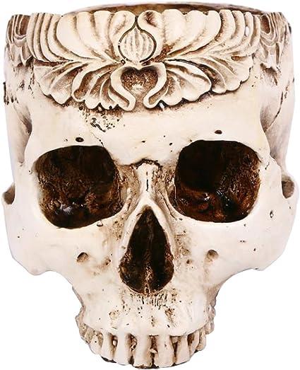 TX/ Halloween Simulation De R/ésine Sculpt/ée Cr/âne Fleur Pot Cendrier Cr/âne Cr/âne Horreur Rang/é Cr/éatif Ornements