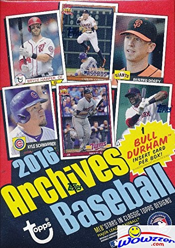 2016 Topps Archives MLB Baseball EXCLUSIVE Factory Sealed Retail Box with 80 Cards including Bull Durham Insert! Look for Cards & Autographs of Kevin Costner, Kris Bryant, Ichiro, Carlos Correa & More -