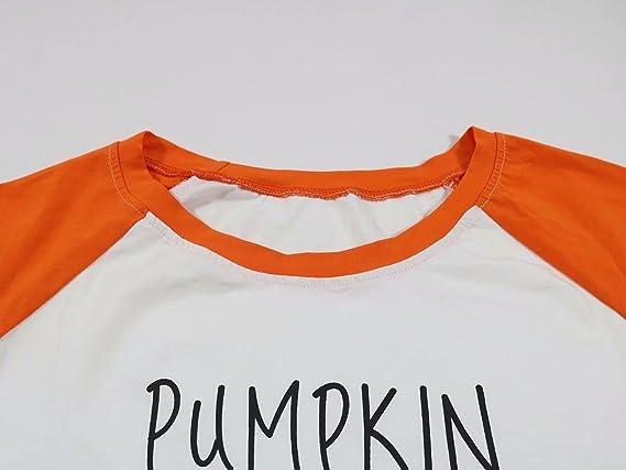 906515a08bb Amazon.com  Pumpkin Spice Every Thing Nice Raglan Long Sleeve T-Shirt Women  Thanksgiving Splicing Top Tees  Clothing