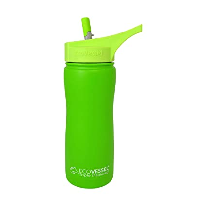 Eco Vessel Frost Kids TriMax Vacuum Insulated Stainless Steel Water Bottle with Flip Straw top Green Camouflage 13 Ounce