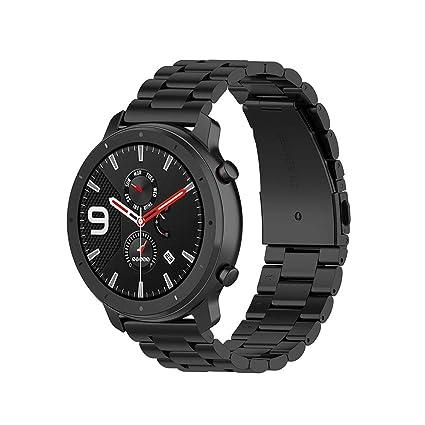 Correa de Acero para Xiaomi Huami Amazfit GTR 47mm Pulsera Pulsera para Huami Amazfit Bip bit Youth Watchband - Negro