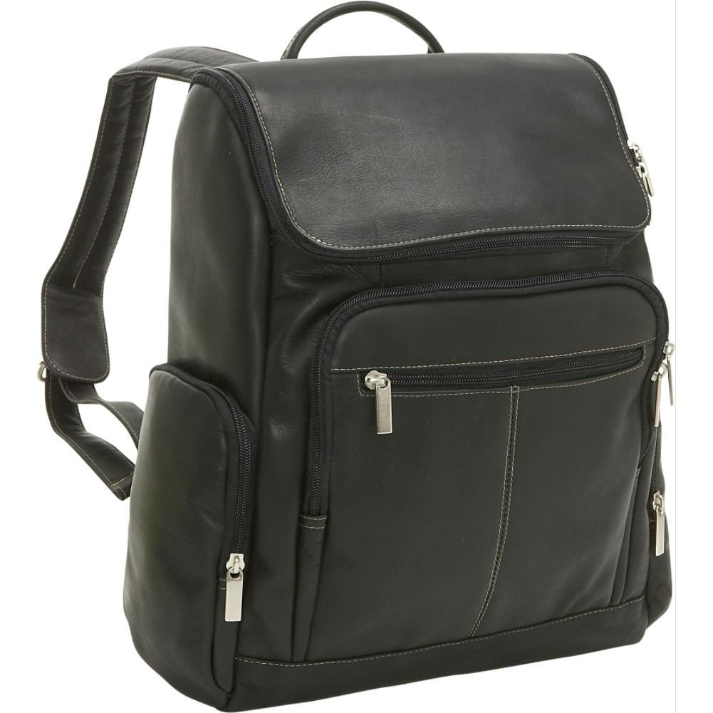 Le Donne Vaqueta Leather Computer Backpack, 15.4'' Laptop Case in Black by Le Donne