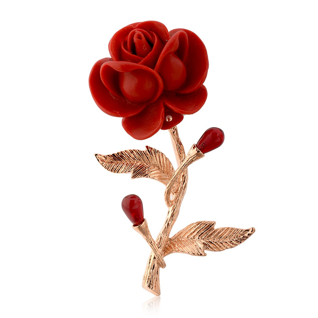 Star Jewelry Gold Plated Red Rose Brooches and Pins Lover