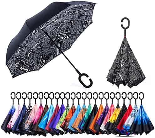 NewSight Reverse/Inverted Double-Layer Waterproof Straight Umbrella, Self-Standing & C-Shape Handle & Carrying Bag Free Hands, Inside-Out Folding Car Use