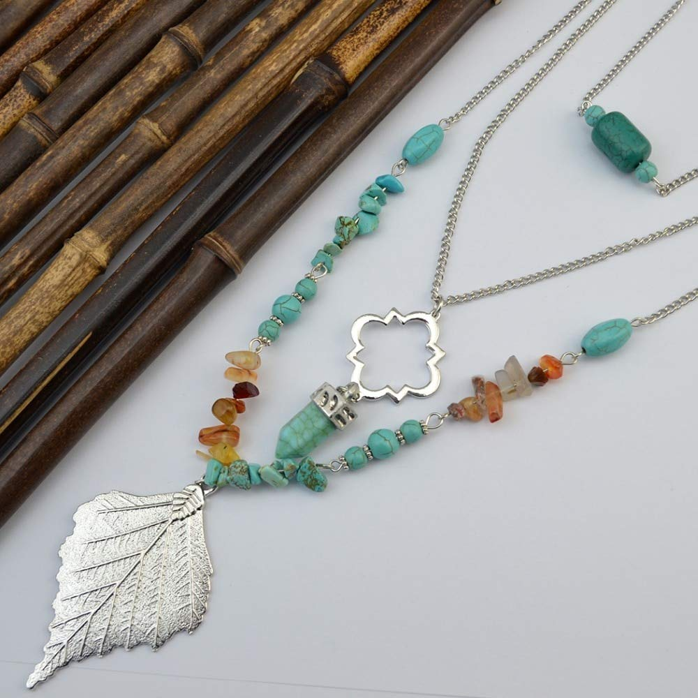 Davitu New Fashion 3 Layers Women Boho Chains Long Necklace /& Pendants Turquosie Beads Alloy Silver Gold Big Maple Leaf Necklace Metal Color: Light Yellow Color