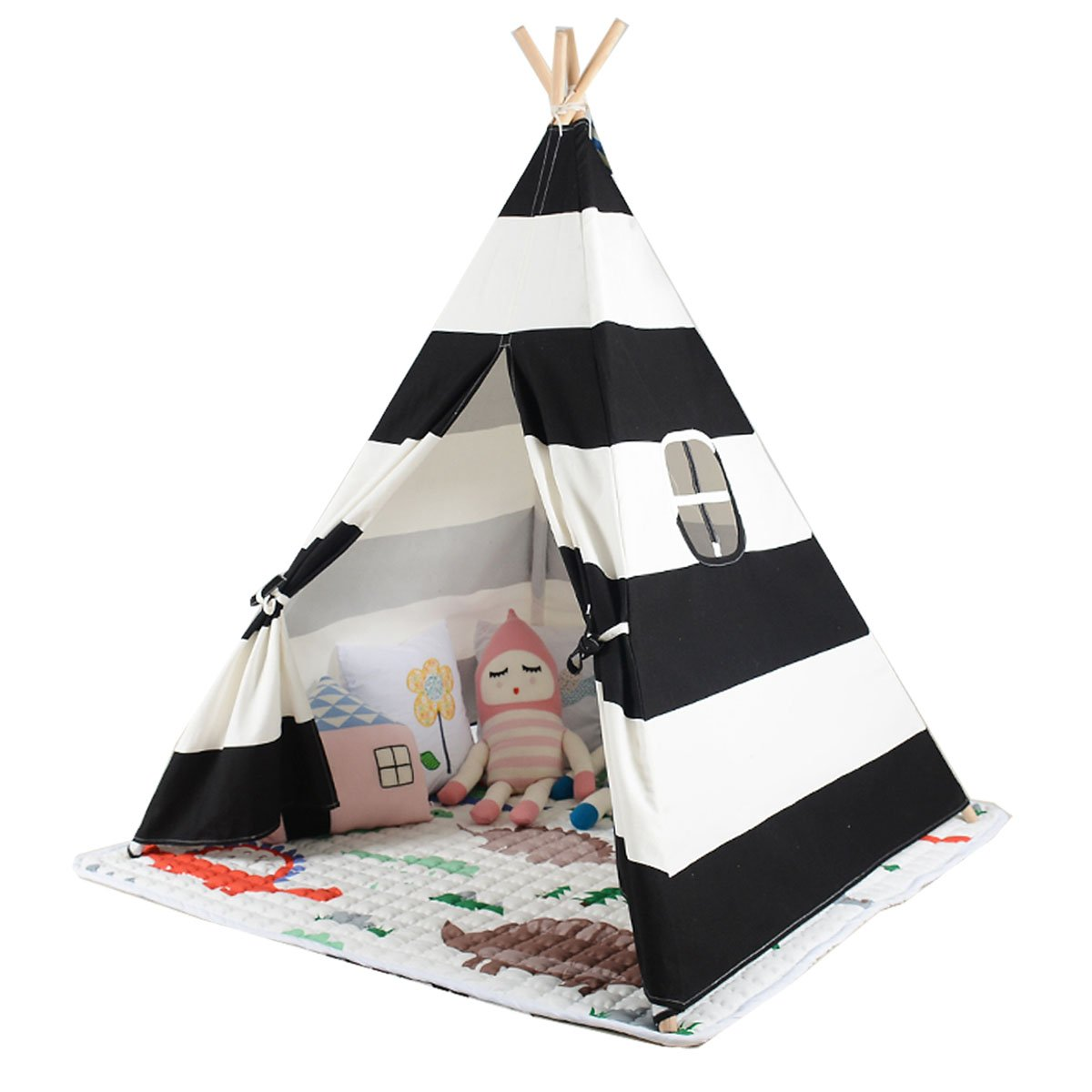 White and black color New design children game room play tent indian Teepee with mat