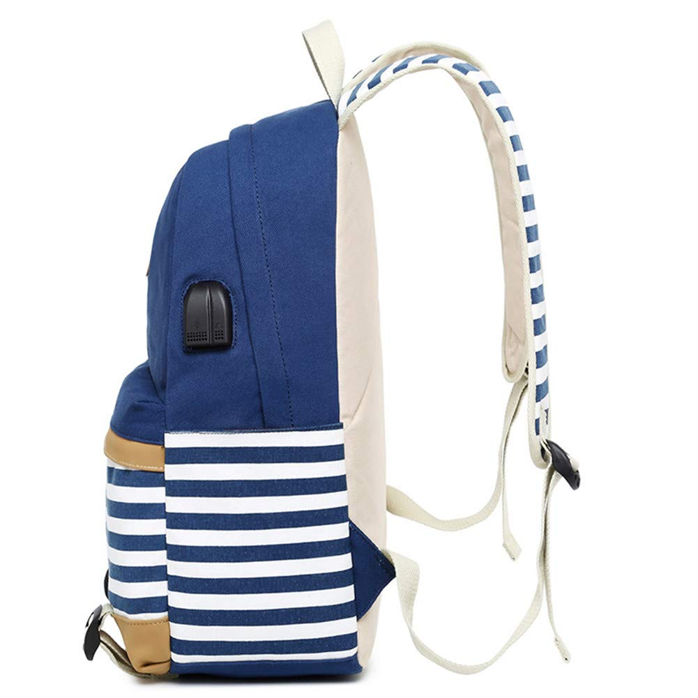 Schulranzen f/ür Teenager M/ädchen Schulrucksack Canvas Rucksack Laptop B/üchertasche Umh/ängetasche Wandern BSG mit USB-Ladeanschluss Blau blau L