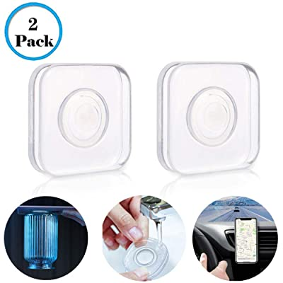 Nano Gel Pad Traceless Magic Stickers Washable Multi Functional Universal Sticky Anti Slip Durable Car Phone Holder, Home, Office Storage, Data line Management, Outdoor, with 2 Pack Square [5Bkhe0117284]