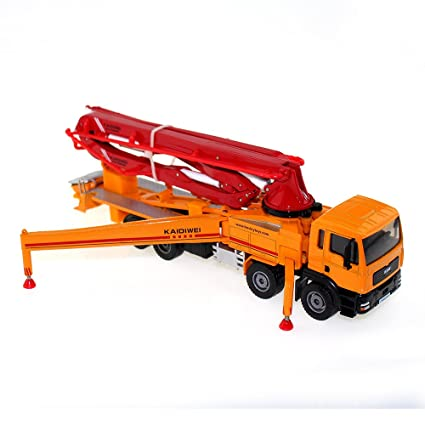 Tipmant Alloy Die-cast Vehicle Model Toy Engineering Concrete Pump Truck  Car High Simulation Kids Gift 1:55 - Red & Yellow
