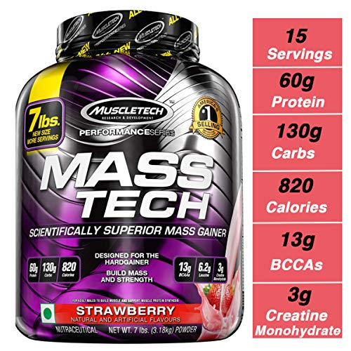MuscleTech Mass Tech Mass Gainer Protein Powder, Build Muscle Size & Strength with High-Density Clean Calories, Strawberry, 7lbs (3.2kg) (Best Protein To Add Muscle Mass)