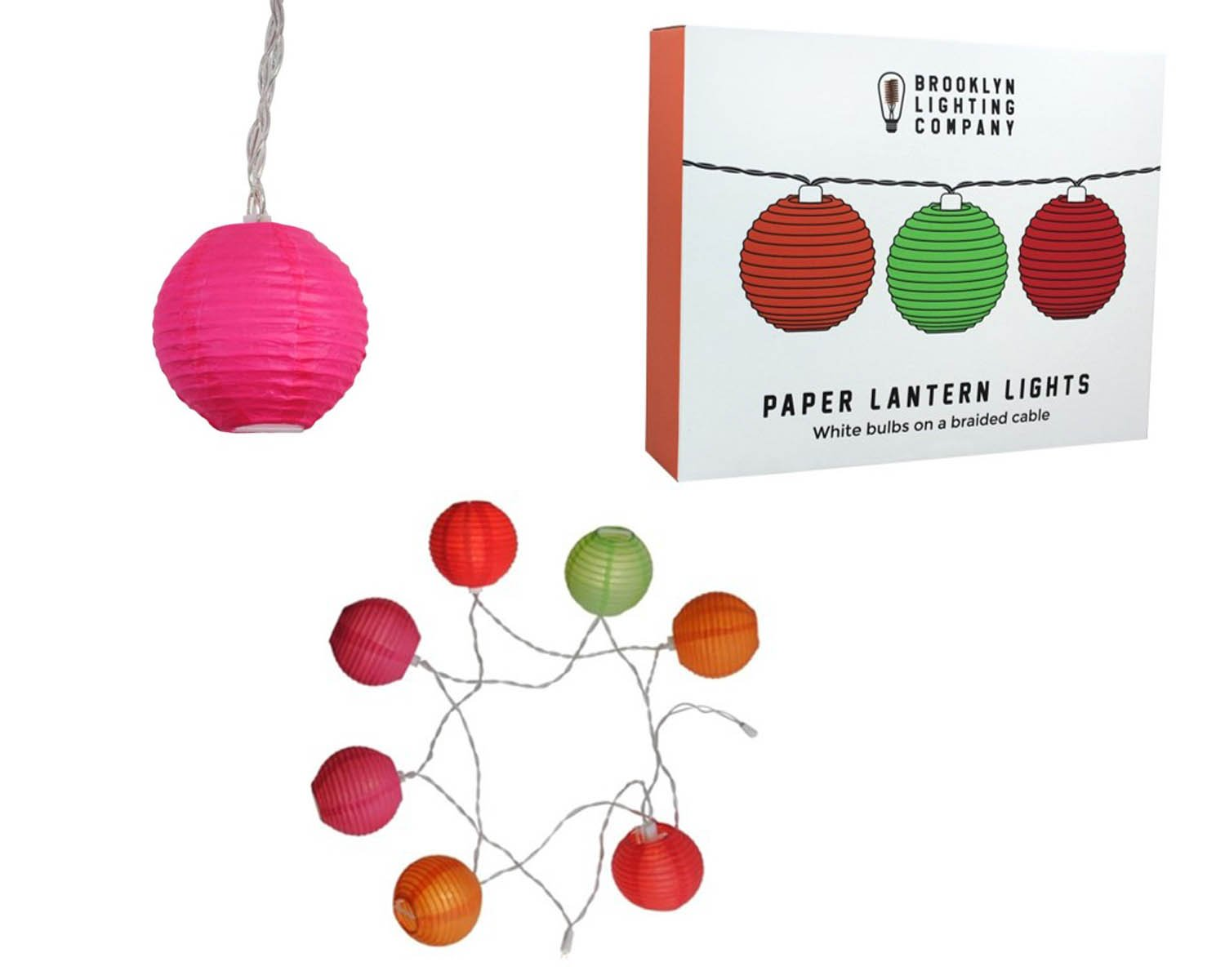 Brooklyn Lighting Company 9 LED Multi Color Paper Lantern String Lights Decorative String Lights, Battery Operated String Lights, Party Decor Supplies for Indoor/Outdoor, 6 Fee (Colored Paper Lantern) by Brooklyn Lighting Company