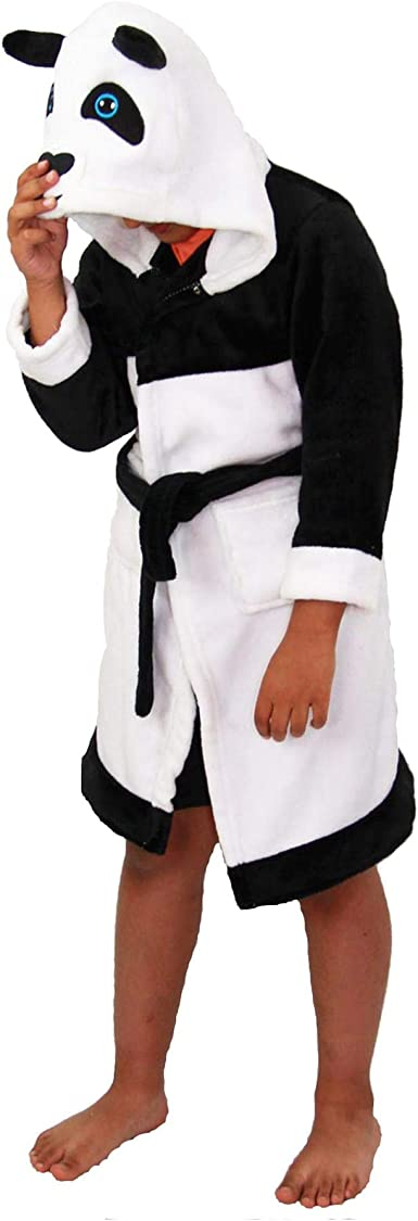 Kids Boys Girls Bathrobe 3D Animal Panda Fleece Dressing Gown Night Lounge Wear