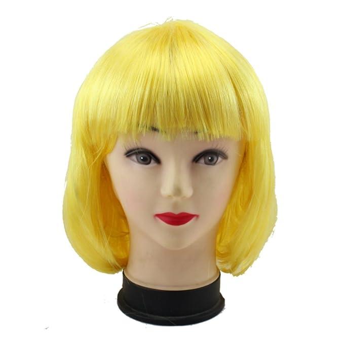 mujeres bonito amable pelo corto el bob 3/4 tres cuartas cortar fantástico vestido peluca