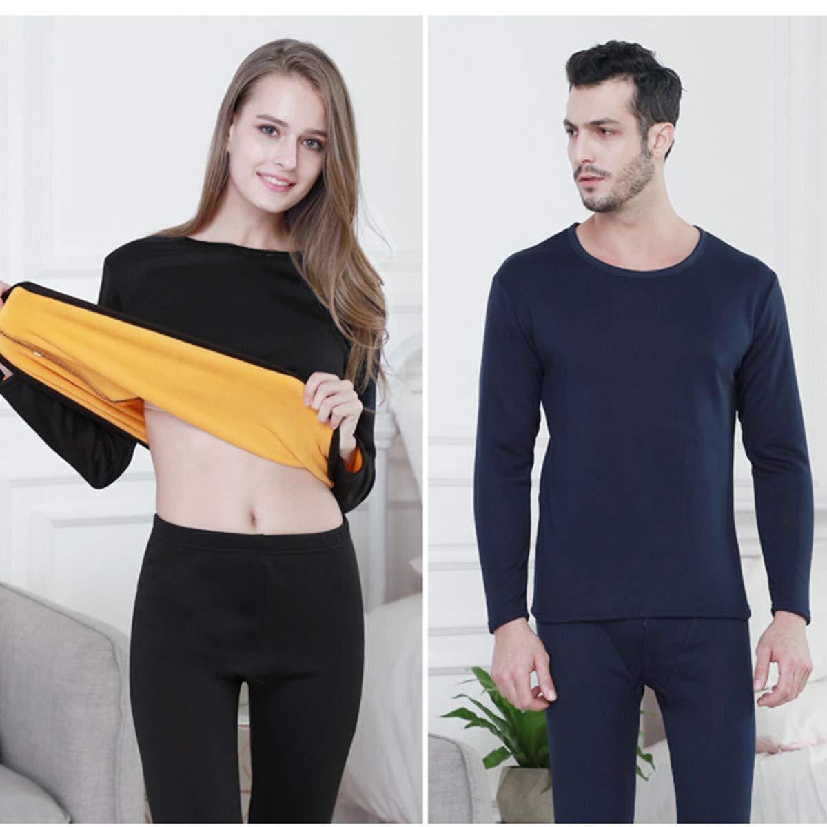 Unisex Thermal Underwear Fleece Lined Winter Base Layering Set