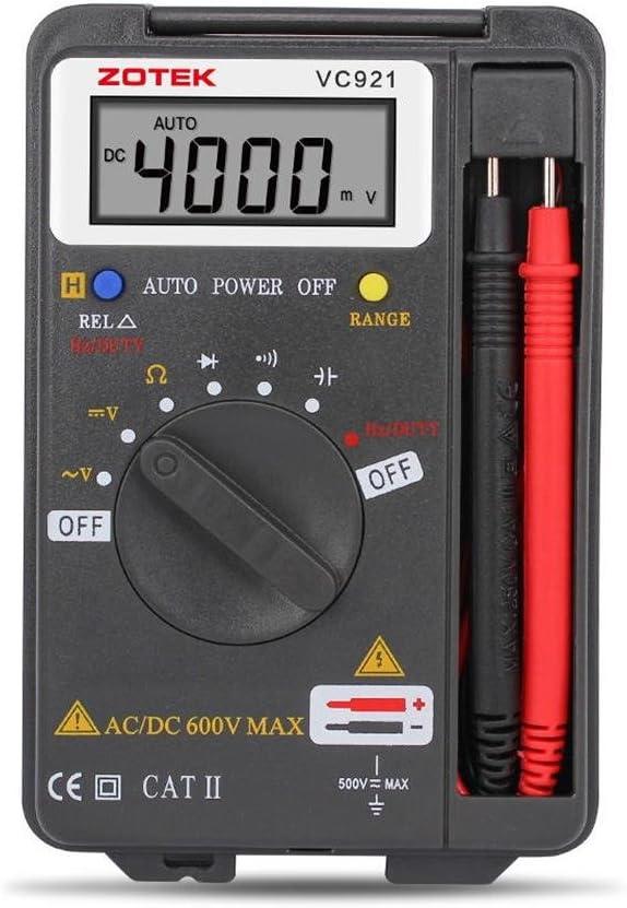 Digital Multimeter, Auto Ranging Pocket Digital Multimeter Digital Multi Tester - AC DC Voltage DC Current Resistance Diodes Capacitance Transistor Measuring Instrument (VC921)