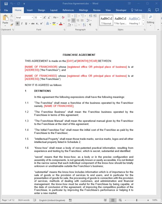 Franchise Agreement  Legal Template Download AmazonCoUk Software