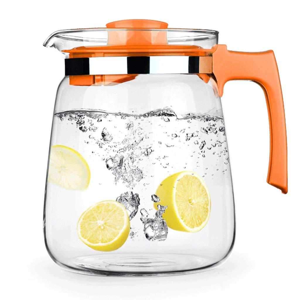 Glass kettle, heat-resistant glass kettle, hot/cold water kettle, glass kettle with lid, 1.5L/2.0L two capacity options, suitable for milk, cold water, ice drinks, etc.