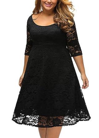 4f10f0a1a4a60 Romacci Women Plus Size Lace Dress Floral O-Neck A-Line Three Quarter  Sleeves