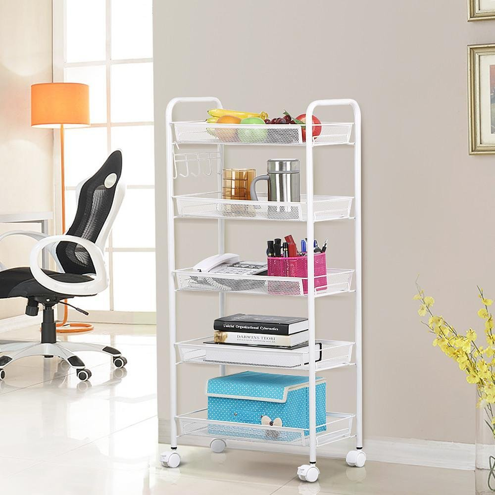 Amazon.com: Topeakmart White 5 Tiers Wire Mesh Rolling Shelving Portable  Metal Handle Flexible Cart For Serving Utility Organization Storage Rack  With ...