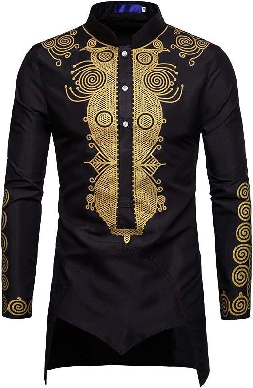 Mens African Print Long Sleeve Shirts Autumn Winter Slim Fit Luxury Shirt Top Blouse