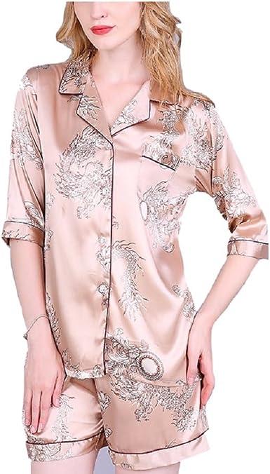 Oudan Conjunto de Pijama de Mujer Camisa de Manga Corta ...