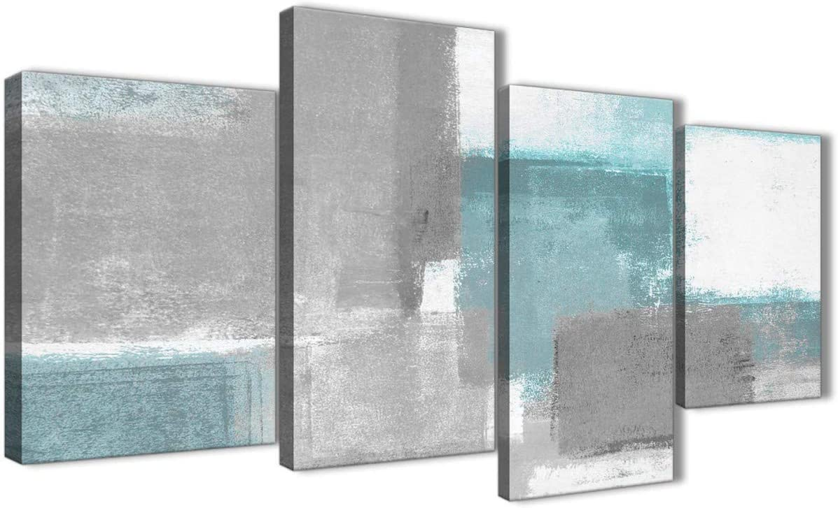 Large Teal Gray Painting Abstract Bedroom Canvas Wall Art Decor - 4377 - 51in Set of Prints Wallfillers