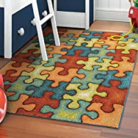 Orian Rugs Kids Perplexed Puzzle Multi Area Rug (52 x 76)